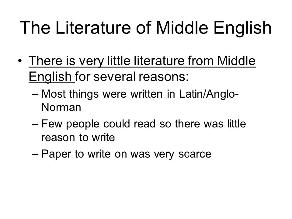 The Literature of Middle English