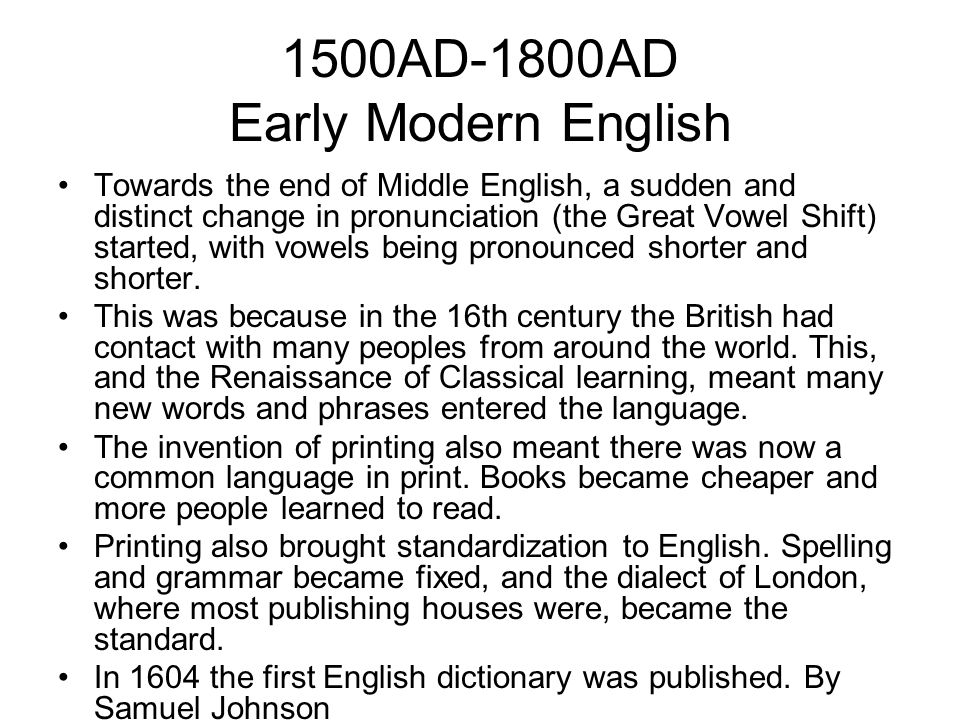 1500AD-1800AD Early Modern English