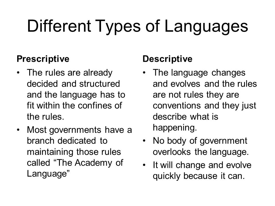 Different Types of Languages