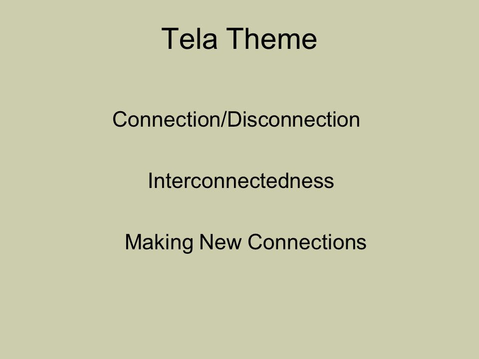 Tela Theme Connection/Disconnection Interconnectedness