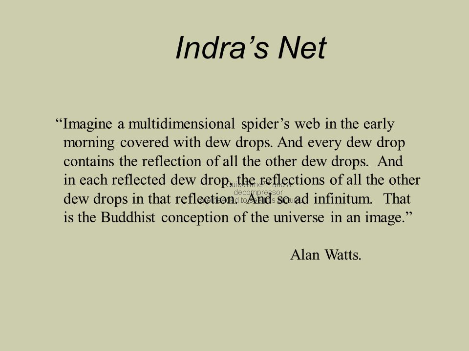 Indra's Net Imagine a multidimensional spider's web in the early