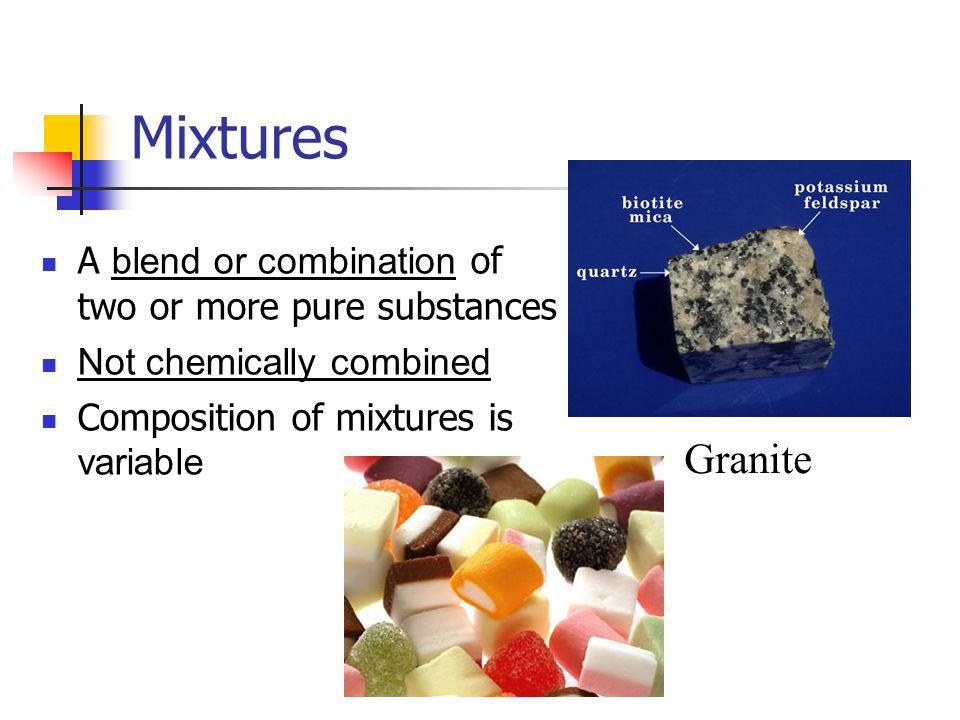 Mixtures Granite A blend or combination of two or more pure substances