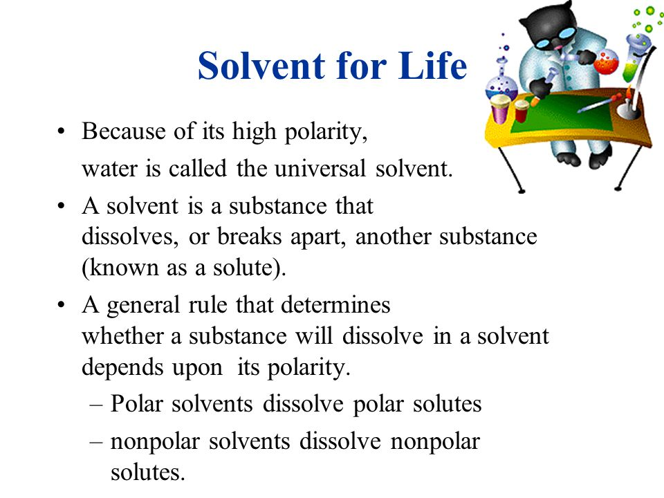 Solvent for Life Because of its high polarity,