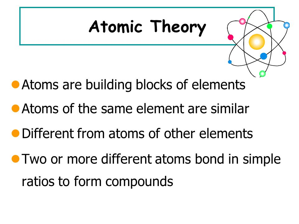 Atomic Theory Atoms are building blocks of elements