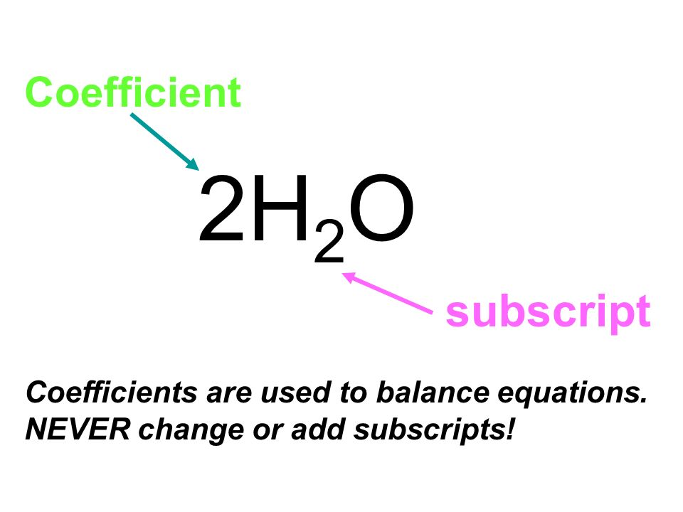 2H2O subscript Coefficient