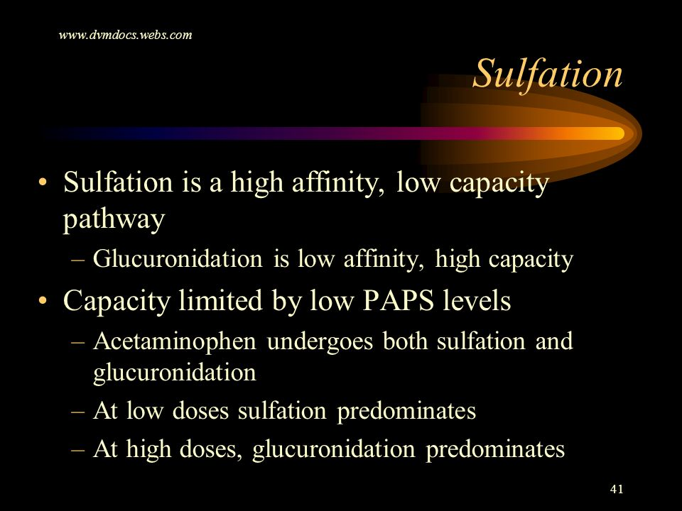 Sulfation Sulfation is a high affinity, low capacity pathway