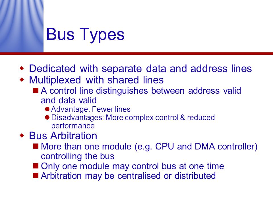 Bus Types Dedicated with separate data and address lines