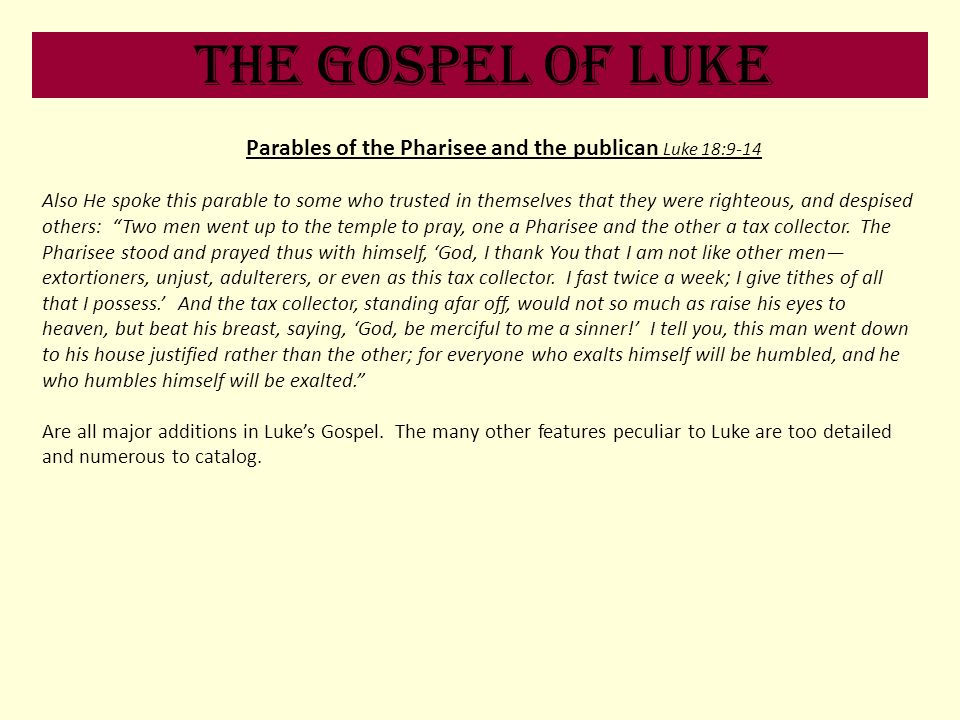 Parables of the Pharisee and the publican Luke 18:9-14