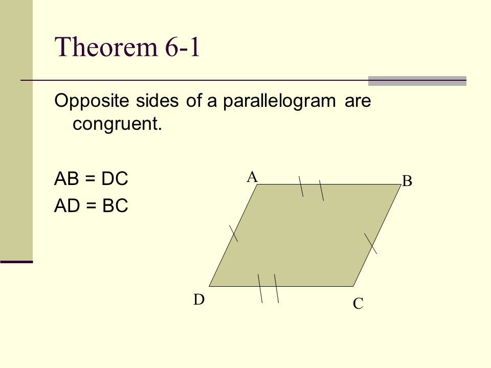 Theorem 6-1 Opposite sides of a parallelogram are congruent. AB = DC