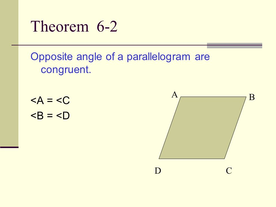 Theorem 6-2 Opposite angle of a parallelogram are congruent.