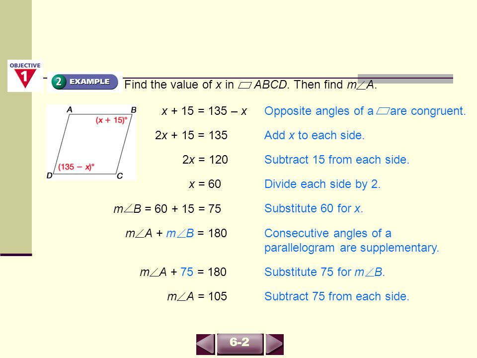 Find the value of x in ABCD. Then find m A.