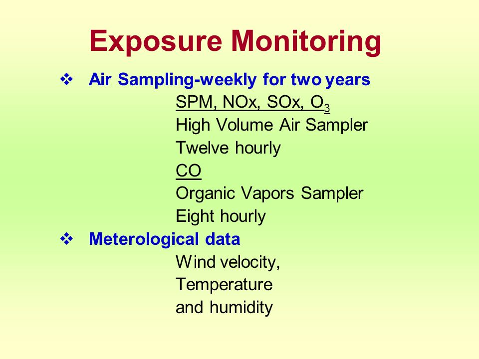 Exposure Monitoring Air Sampling-weekly for two years