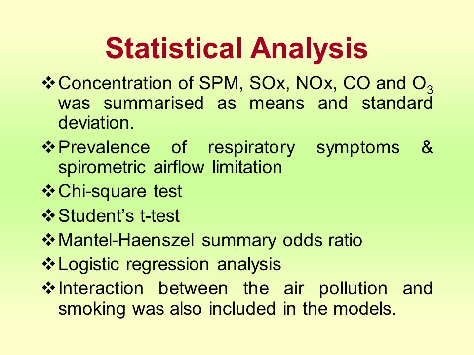 Statistical Analysis Concentration of SPM, SOx, NOx, CO and O3 was summarised as means and standard deviation.