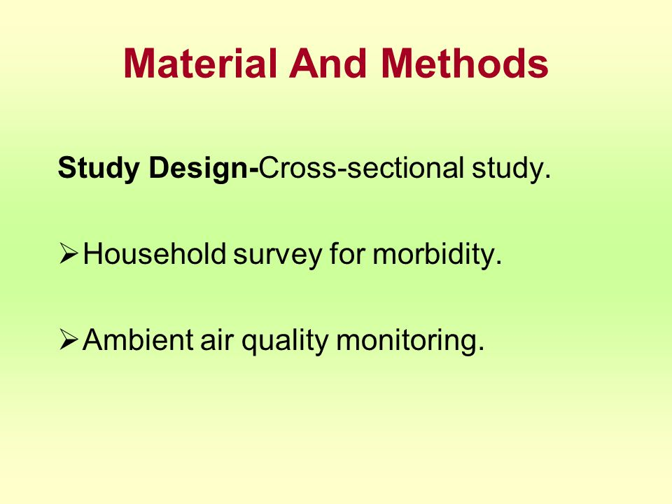 Material And Methods Study Design-Cross-sectional study.