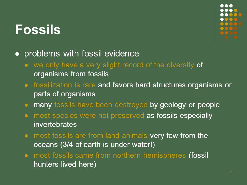 Fossils problems with fossil evidence