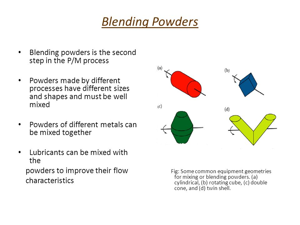 Blending Powders Blending powders is the second step in the P/M process.