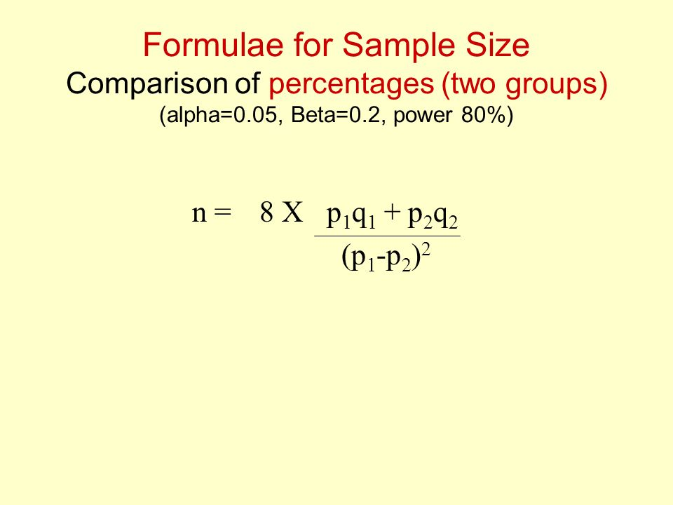 Formulae for Sample Size Comparison of percentages (two groups) (alpha=0.05, Beta=0.2, power 80%)