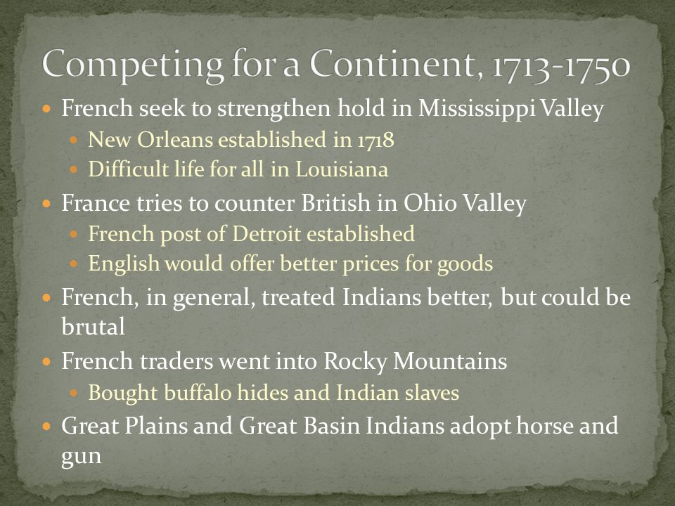 Competing for a Continent, 1713-1750