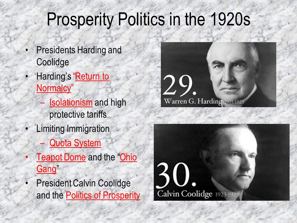 Prosperity Politics in the 1920s