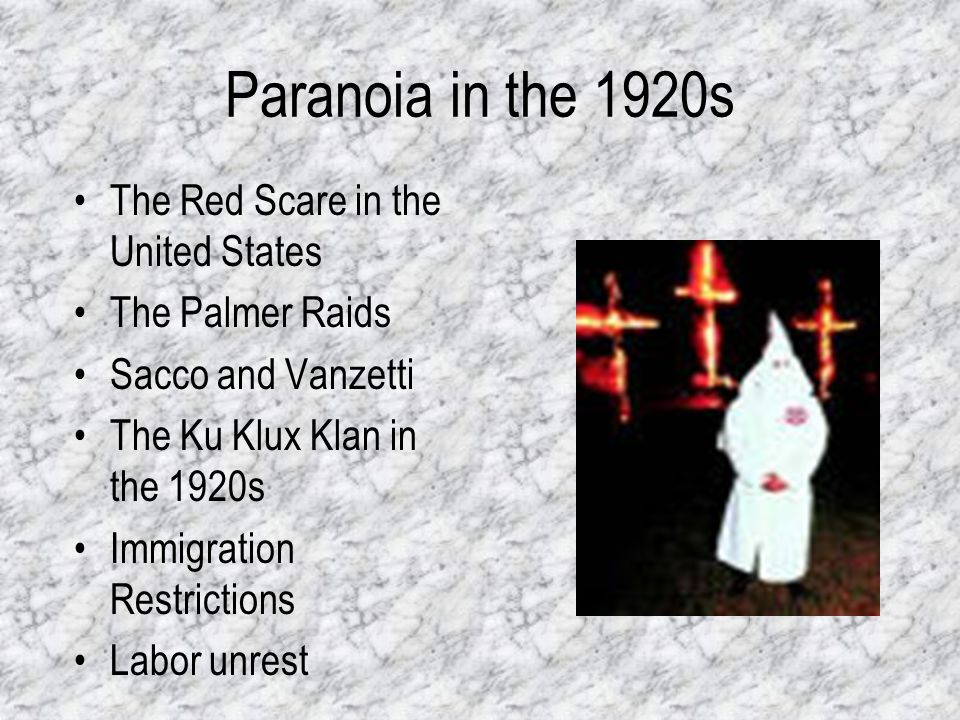 Paranoia in the 1920s The Red Scare in the United States