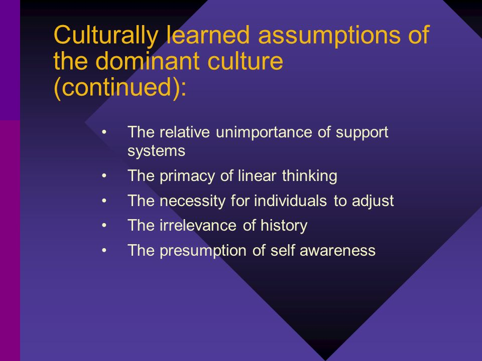 Culturally learned assumptions of the dominant culture (continued):