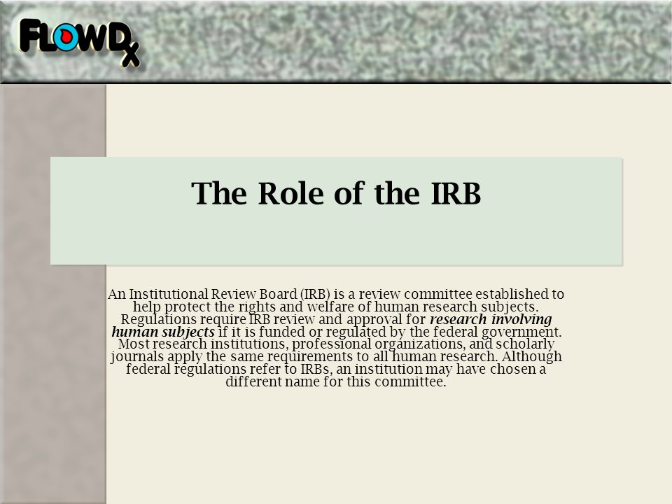 The Role of the IRB