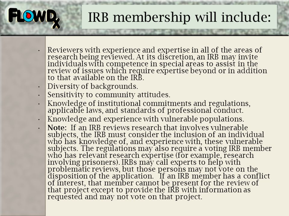 IRB membership will include: