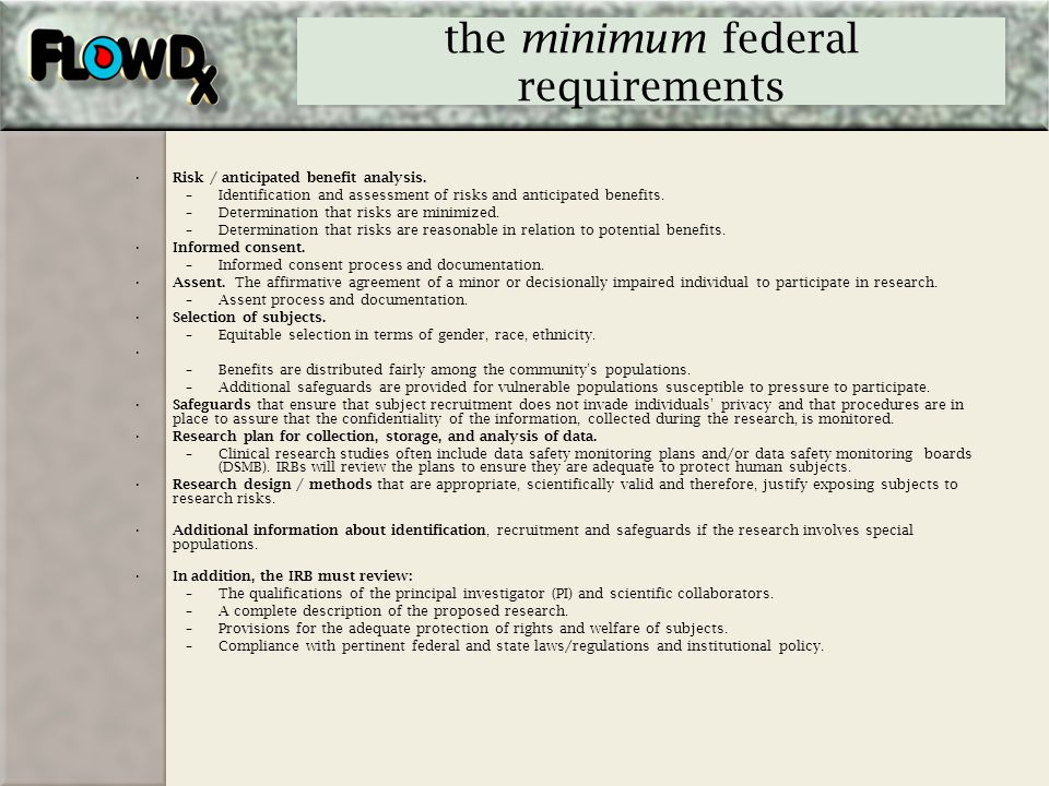 the minimum federal requirements