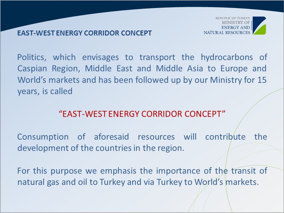 EAST-WEST ENERGY CORRIDOR CONCEPT