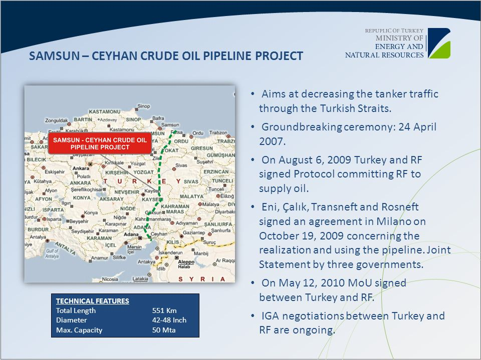 SAMSUN – CEYHAN CRUDE OIL PIPELINE PROJECT