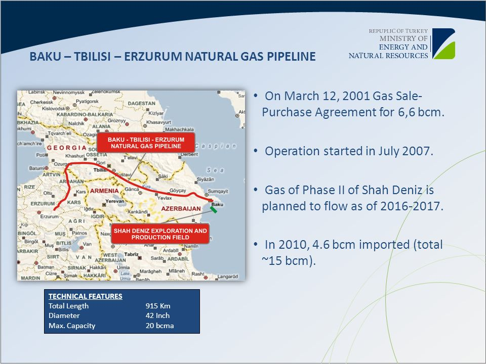 BAKU – TBILISI – ERZURUM NATURAL GAS PIPELINE
