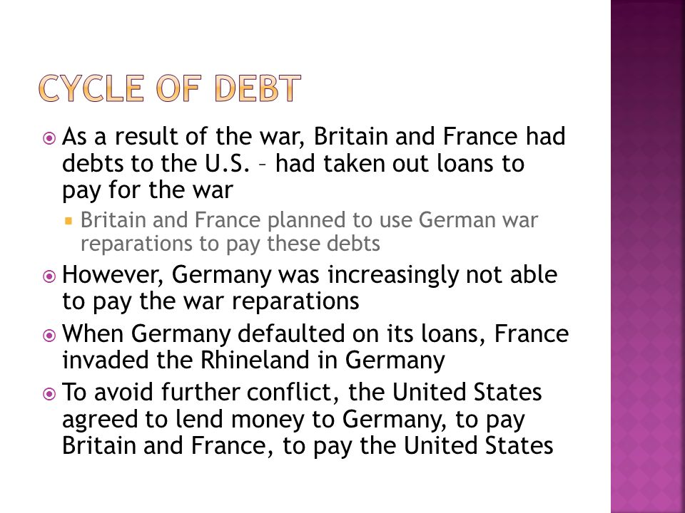 Cycle of Debt As a result of the war, Britain and France had debts to the U.S. – had taken out loans to pay for the war.