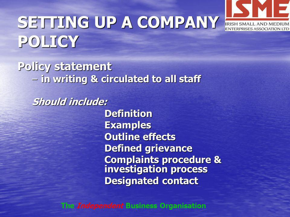 Employment obligations of small business setting up a company policy accmission Image collections