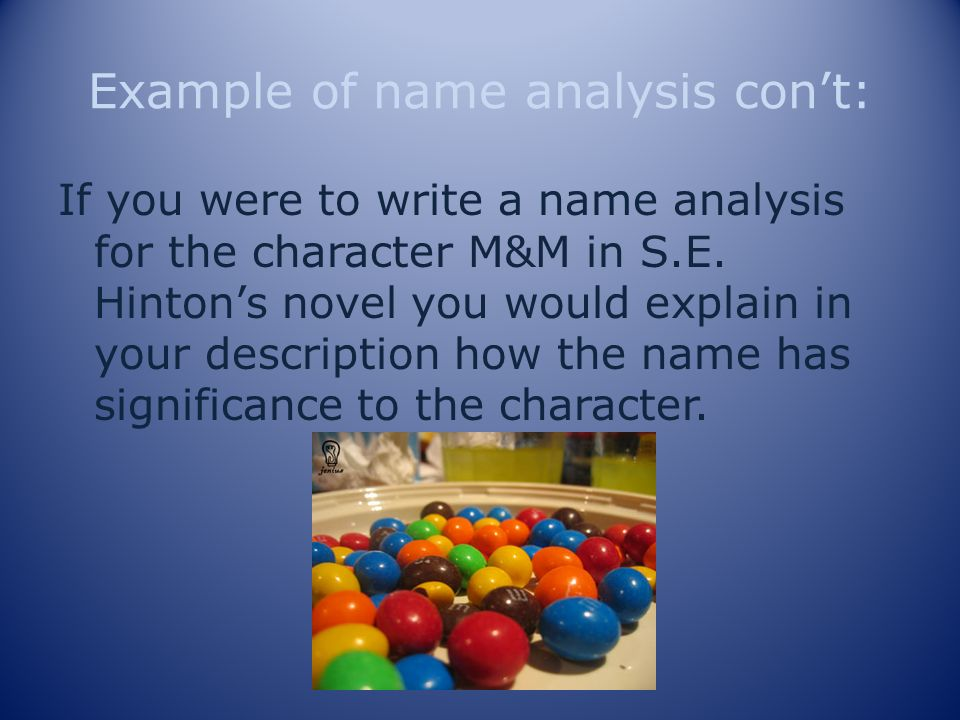 Example of name analysis con't: