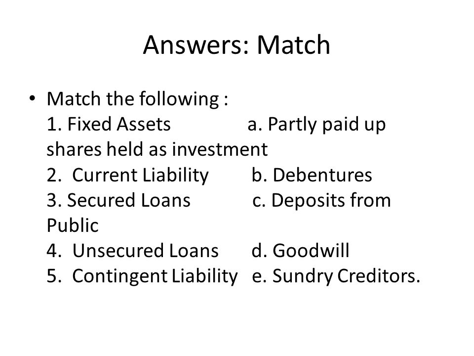Answers: Match