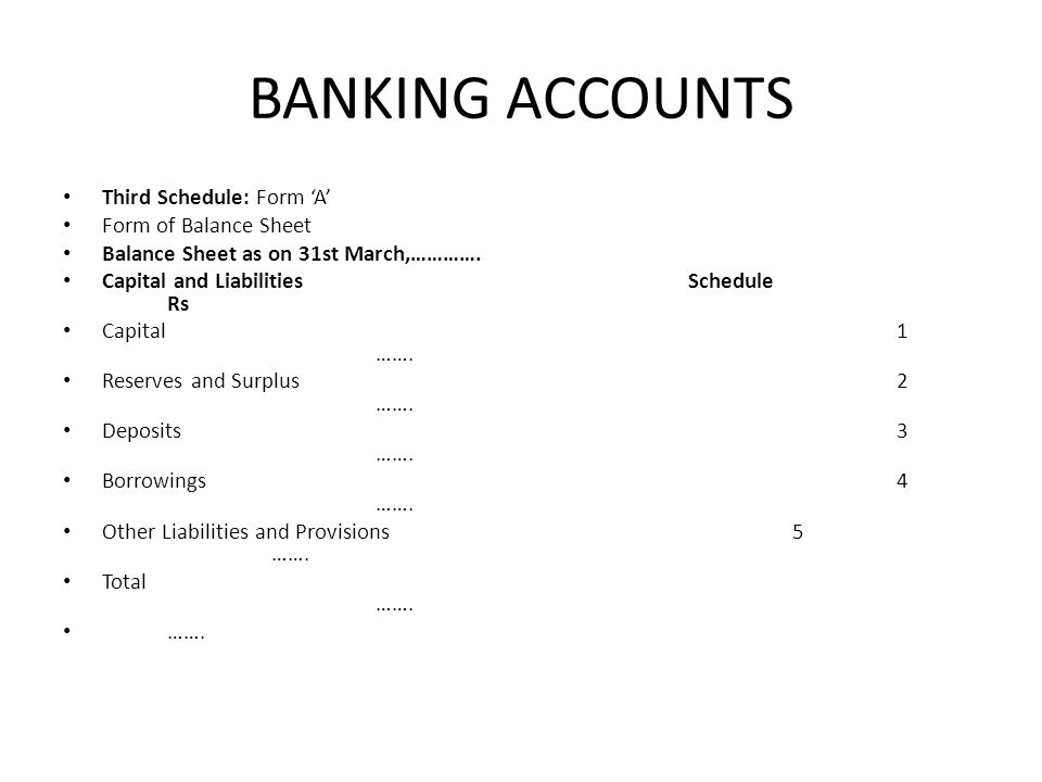 BANKING ACCOUNTS Third Schedule: Form 'A' Form of Balance Sheet
