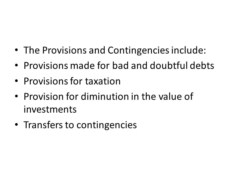 The Provisions and Contingencies include: