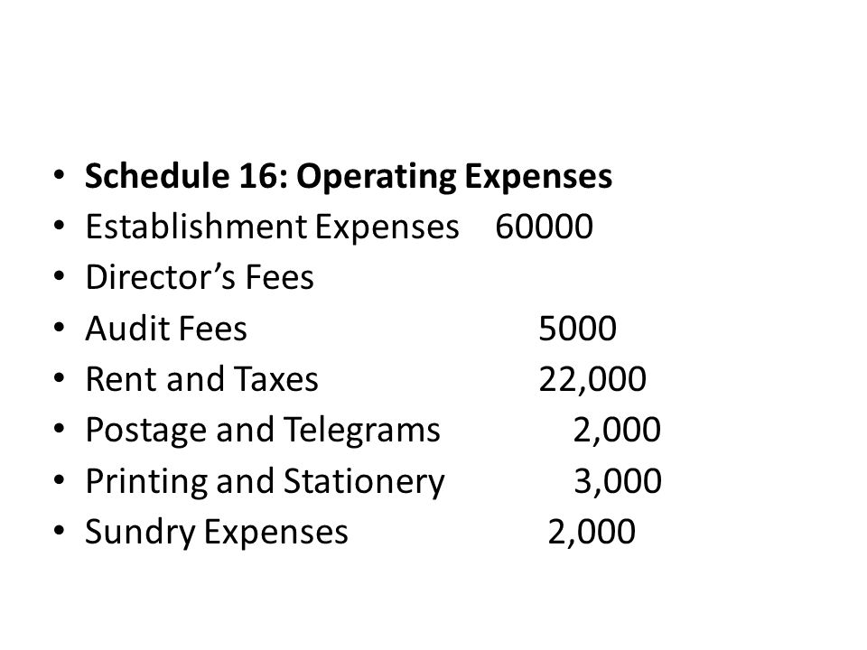 Schedule 16: Operating Expenses