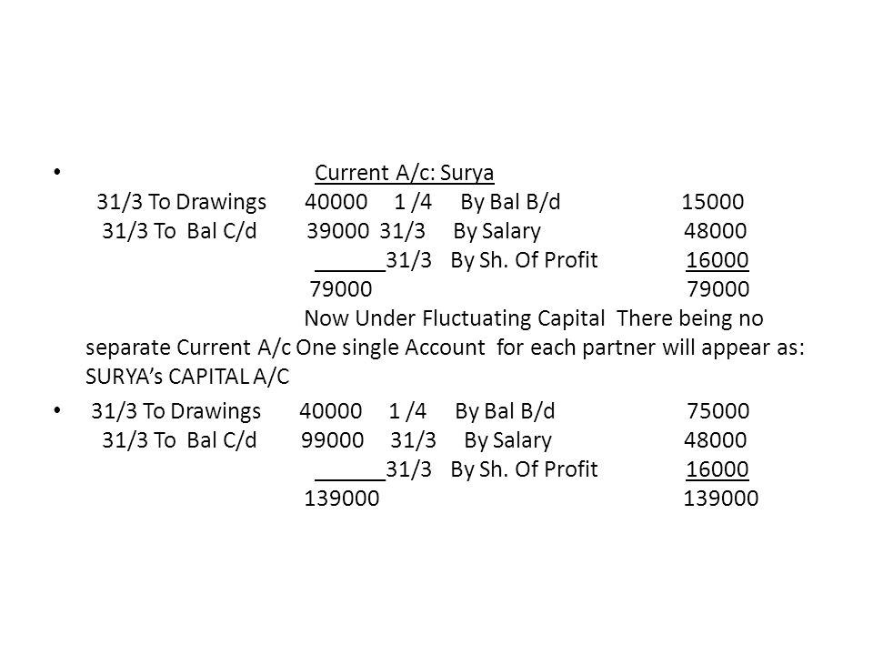 Current A/c: Surya 31/3 To Drawings /4 By Bal B/d /3 To Bal C/d /3 By Salary ______31/3 By Sh. Of Profit Now Under Fluctuating Capital There being no separate Current A/c One single Account for each partner will appear as: SURYA's CAPITAL A/C
