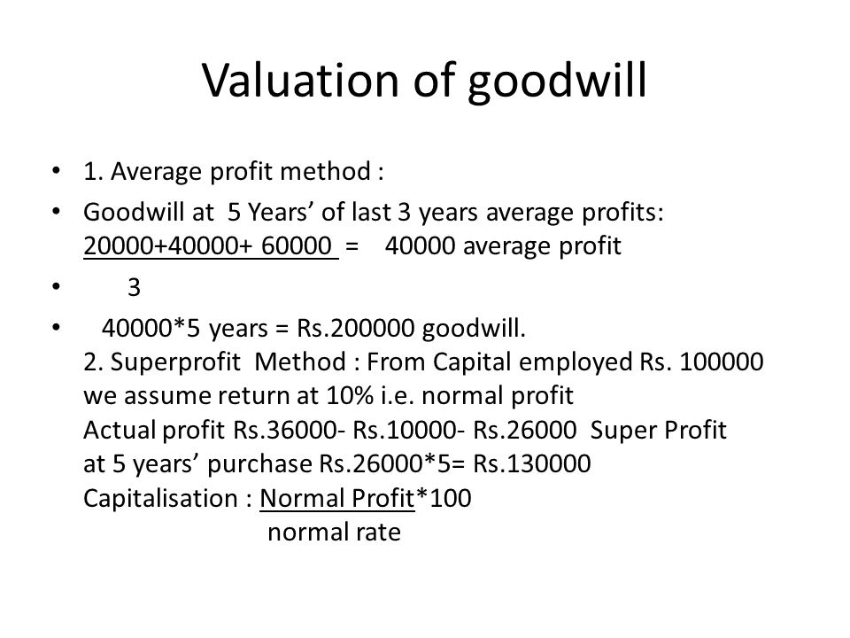 Valuation of goodwill 1. Average profit method :