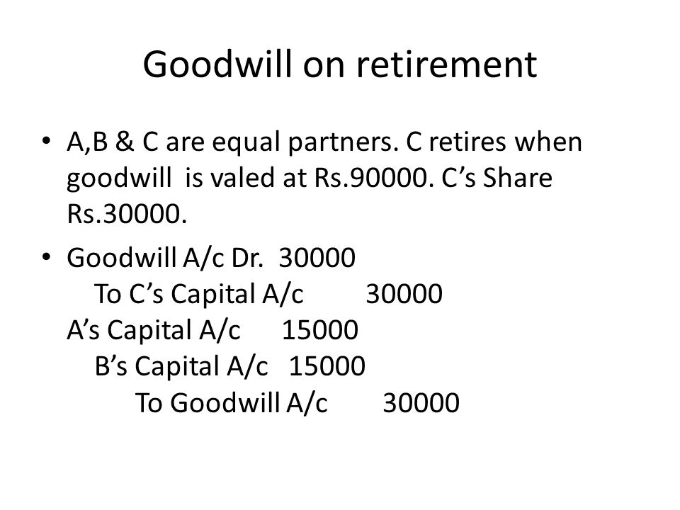 Goodwill on retirement