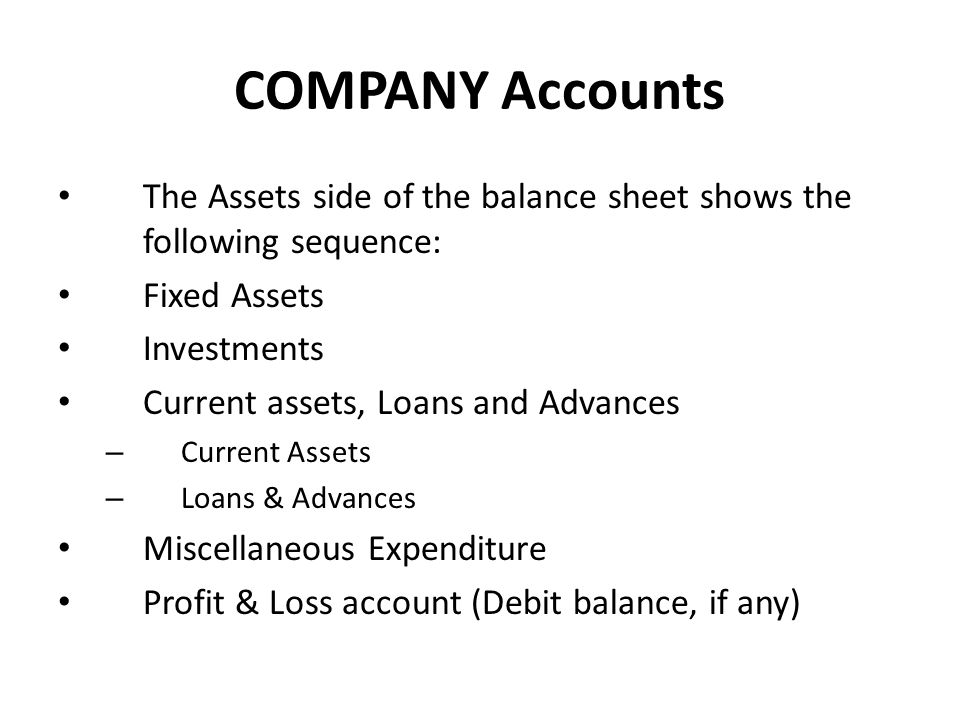 COMPANY Accounts The Assets side of the balance sheet shows the following sequence: Fixed Assets. Investments.
