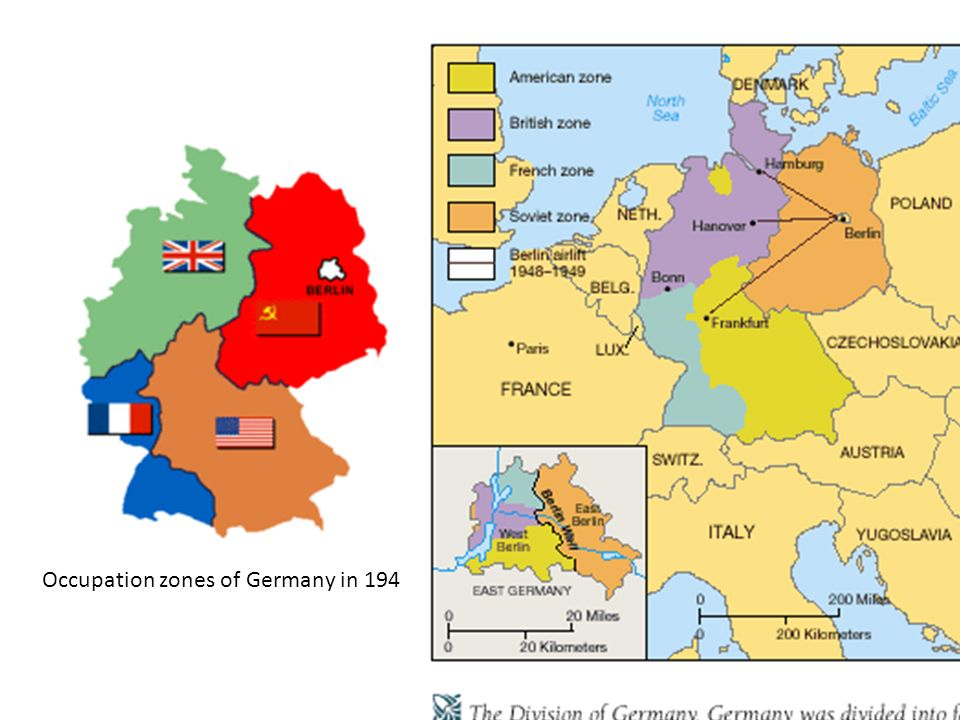 Occupation zones of Germany in 1945.