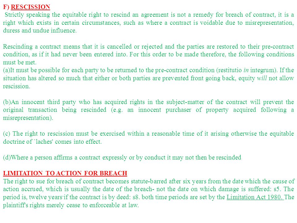 Remedies For Breach Of Contract Ppt Video Online Download