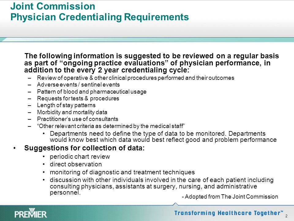 Joint Commission Physician Credentialing Requirements