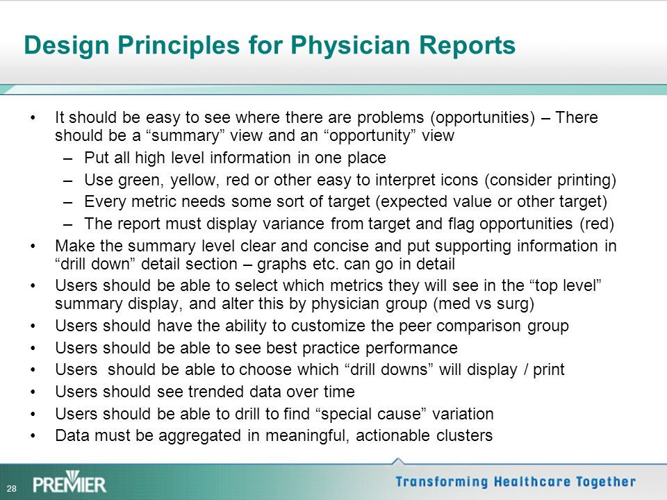 Design Principles for Physician Reports