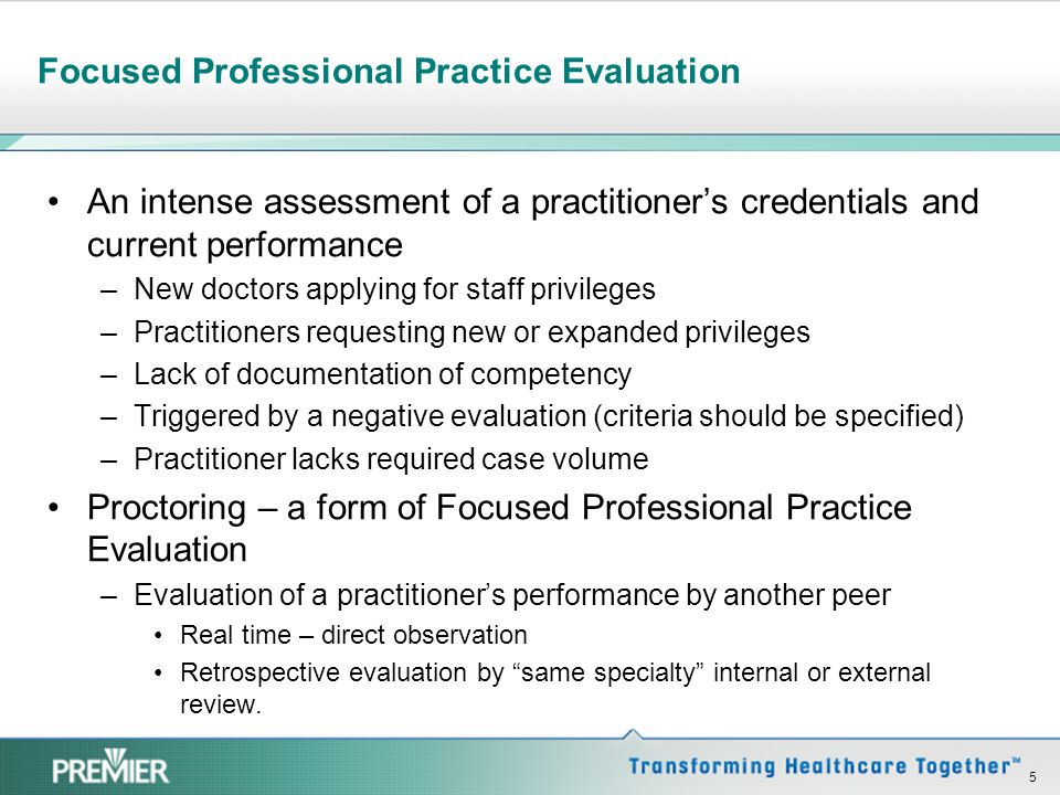 Focused Professional Practice Evaluation
