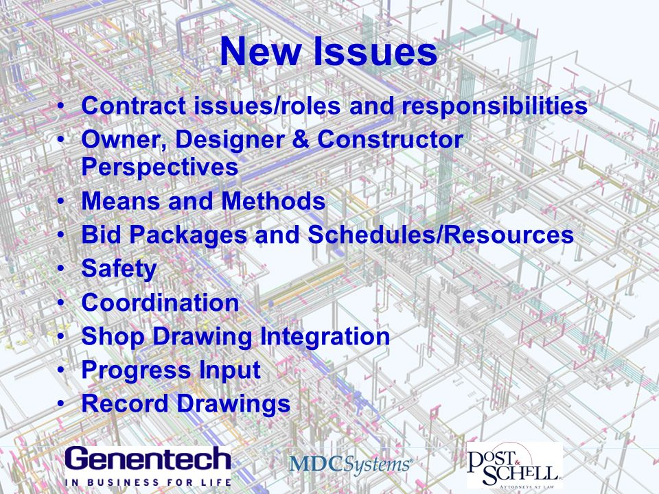 New Issues Contract issues/roles and responsibilities