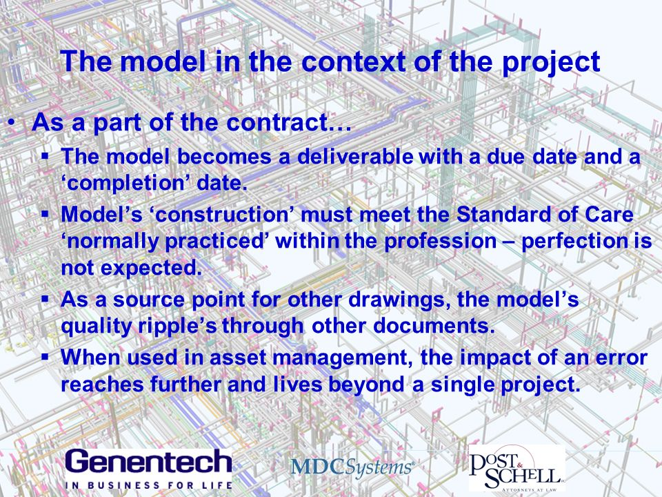 The model in the context of the project