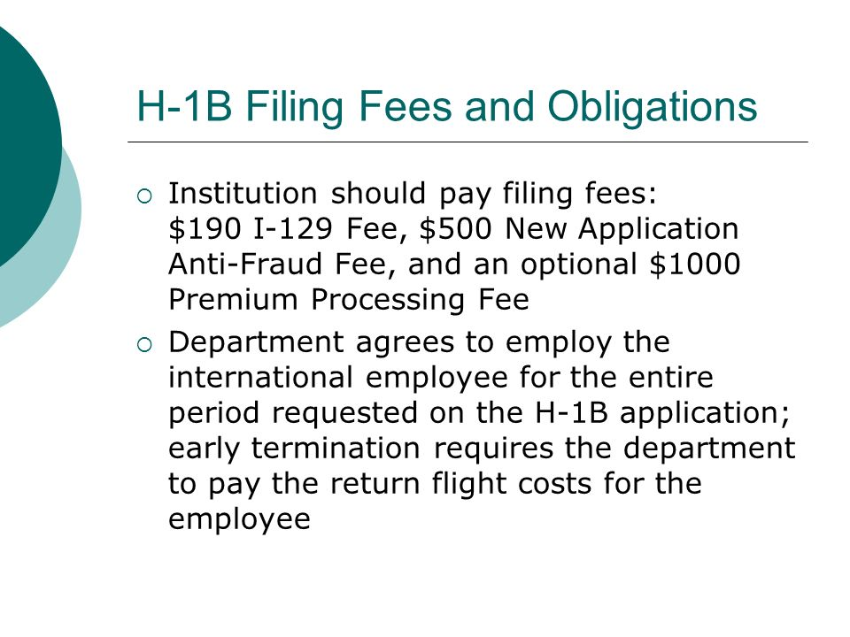 H-1B Filing Fees and Obligations
